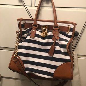 Michael Kors Hamilton Navy Blue/White Handbag